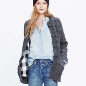 Madewell Plaid Flannel Lined Merino Wool Sweater M